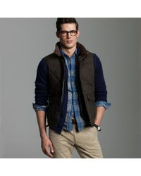 J.Crew | Green Barbour® Down Waxed Quilted Gilet for Men | Lyst