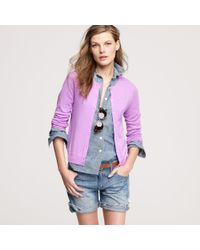 J.Crew | Purple Featherweight Cashmere Cardigan | Lyst