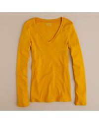 J.Crew | Yellow Perfect-fit Long-sleeve V-neck Tee | Lyst