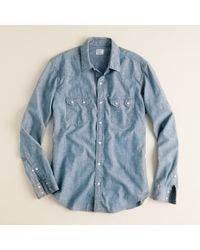 J.Crew | Blue Light Wash Denim Western Shirt for Men | Lyst