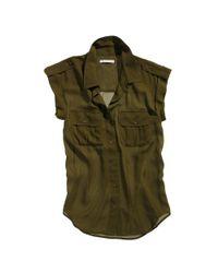 Madewell   Green Silk Safari Shirt   Lyst