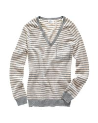 Madewell | Gray Striped Cashmere Cabin Sweater | Lyst