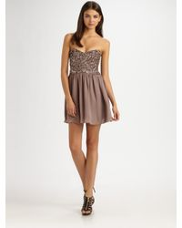 Parker | Natural Cluster Beaded Strapless Dress | Lyst