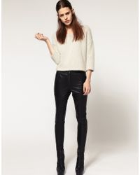 ASOS Collection | Black Asos Panel Zip Leather Skinny Trousers | Lyst