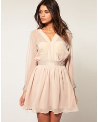 ASOS Collection - Natural Asos Slash Sleeve Dress with Diamante Trim - Lyst