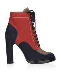 Bally | Blue Color-block Suede Ankle Boots | Lyst