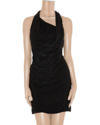 Helmut Lang - Black Leather Sequin-embellished Silk Dress - Lyst