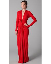 Issa - Red Long Sleeve Open Back Dress - Lyst