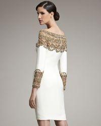 Marchesa   Natural Embroidered-yoke Dress   Lyst
