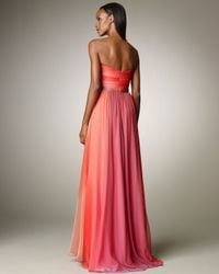 Monique Lhuillier | Pink Ombre Ruched Gown | Lyst