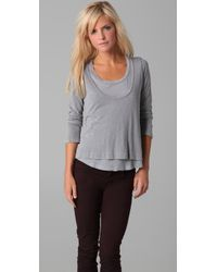 Splendid | Gray Vintage Whisper Layer Tee | Lyst