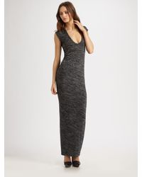 T By Alexander Wang | Black Marled Drape-back Muscle Maxi Dress | Lyst