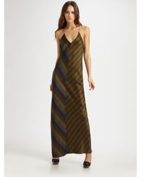 T By Alexander Wang | Green Striped Silk Charmeuse Racerback Slip Dress | Lyst