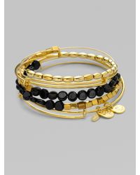 ALEX AND ANI - Black Expandable Wire Bracelet Set/onyx - Lyst