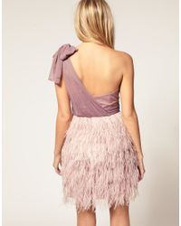 ASOS Collection | Purple Asos Petite Exclusive Asymmetric Feather Bandeau Dress | Lyst
