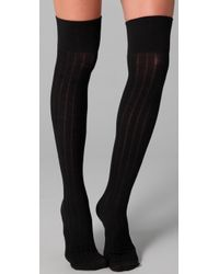 Club Monaco - Black Wool Thigh High Socks - Lyst