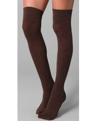 Club Monaco | Brown Wool Thigh High Socks | Lyst