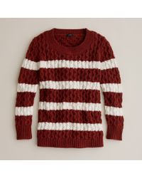J.Crew | Brown Chainlink Cable Sweater in Stripe | Lyst