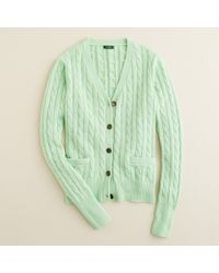 J.Crew | Green Cambridge Cable Cardigan | Lyst