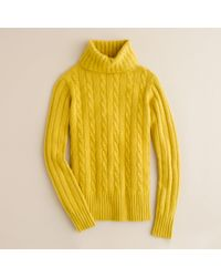 J.Crew | Yellow Cambridge Cable Chunky Turtleneck Sweater | Lyst