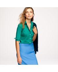 J.Crew | Green Three-quarter Sleeve Stretch Perfect Shirt | Lyst