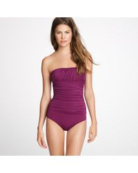J.Crew | Purple Ruched Banded Bandeau Tank | Lyst
