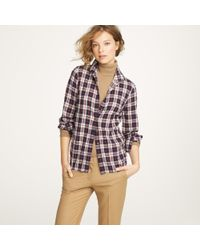 J.Crew | Blue Perfect Shirt with Bronze Buttons in Navy Plaid | Lyst