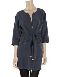 Marc By Marc Jacobs - Blue Washed-silk Zip Dress - Lyst