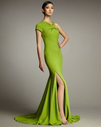 Pamella Roland | Green Asymmetric Mermaid Gown | Lyst