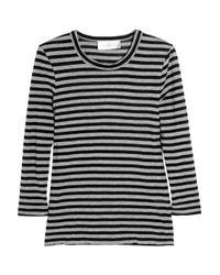 A.L.C. | Black Striped Cotton-jersey T-shirt | Lyst