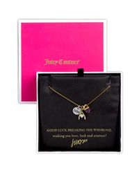 Juicy Couture | Metallic Love, Luck & Couture - Clover Boxed Charm Necklace | Lyst
