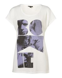 TOPSHOP - White Bowie Tee - Lyst