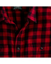 J.Crew | Red Vintage Flannel Shirt in Buffalo Plaid for Men | Lyst