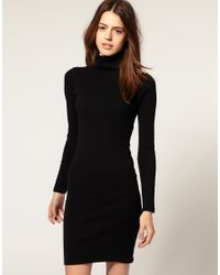 American Apparel | Black Polo Neck Dress | Lyst