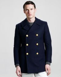 Band of Outsiders | Blue Wool Pea Coat for Men | Lyst