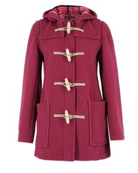 Gloverall | Dark Pink Mid Length Duffle Coat | Lyst