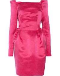 Lanvin | Pink Silk-satin Off-the-shoulder Dress | Lyst