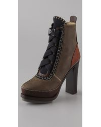 Rag & Bone | Brown Astrid Leather-blend Lace-up Ankle Boots | Lyst