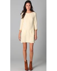 Rag & Bone | Natural Harlow Dress with Crackled Leather Trim | Lyst
