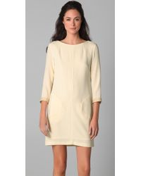 Rag & Bone - Natural Harlow Dress with Crackled Leather Trim - Lyst