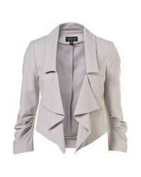 TOPSHOP - Gray Grey Slash Lapel Crop Jacket - Lyst