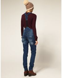 ASOS Collection - Blue Asos Denim Dungaree with Patch Detail - Lyst