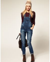 ASOS Collection | Blue Asos Denim Dungaree with Patch Detail | Lyst