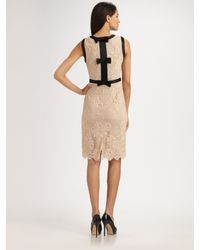 MILLY | Pink Chantilly Lace Marcella Bow Sheath Dress | Lyst