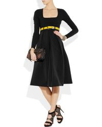 Preen By Thornton Bregazzi | Black Vertigo Belted Stretch-crepe Dress | Lyst