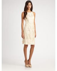 Sue Wong | Natural Soutache Lace Dress | Lyst