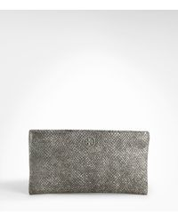 Tory Burch | Gray Metallic Snake Lily Evening Bag | Lyst