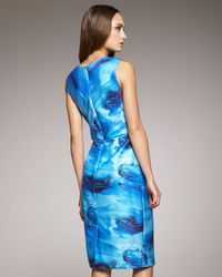 Vera Wang | Blue Wave Print Dress | Lyst