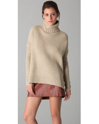 VINCE | Natural Honeycomb Turtleneck Sweater | Lyst
