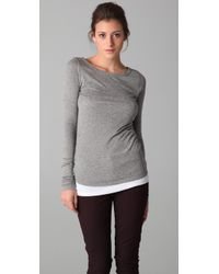 VINCE | Gray Ribbed Long Sleeve Tee | Lyst
